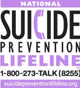 National Suicide Prevention Lifeline logo image and website link.