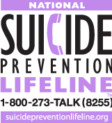 National Suicide Prevention Lifeline logo image and website link.