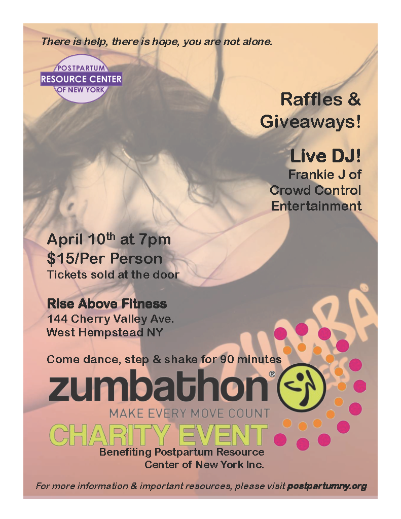 Zumbathon Charity Event Flyer - benefiting the Postpartum Resource Center of New York. Event takes place Friday, April 10th at 7pm.