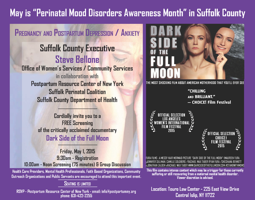Perinatal Mood Disorders Awareness Month - Dark Side of the Full Moon event poster.