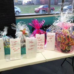 Photograph of gift baskets at Zumbathon Charity event for the Postpartum Resource Center of New York on Friday, April 10, 2015. The event took place in West Hempstead, New York.