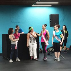Event hosts and participants at the Zumbathon Charity event for the Postpartum Resource Center of New York on Friday, April 10, 2015.
