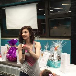 Raffle baskets at the Zumbathon Charity event for the Postpartum Resource Center of New York on Friday, April 10, 2015.