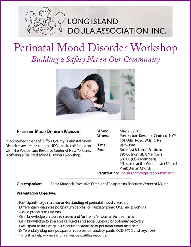 Long Island Doula Association Perinatal Mood Disorder Workshop flyer. Event is May 21, 2015.