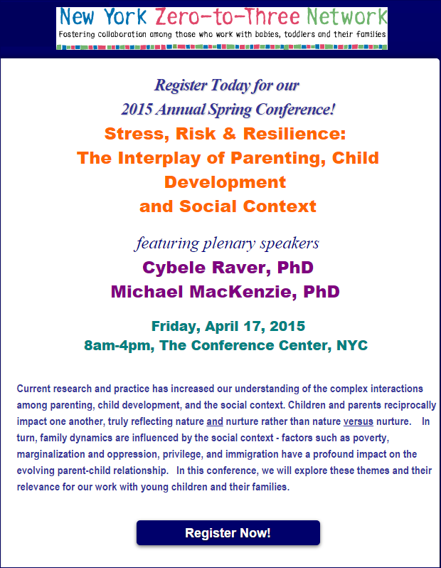 New York Zero-to-Three Network Spring Conference 2015 - Maternal Depression. Screen shot of event page.