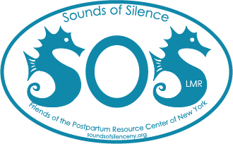 Sounds of Silence, Friends of the Postpartum Resource Center of New York logo. In Memory of Lisa Mary Reilly.