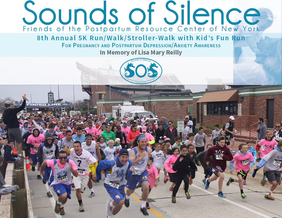 8th Annual Sounds of Silence, Friends of the Postpartum Resource Center of New York's 5K Run/Walk/Stroller-Walk and Kid's Fun Run. Photograph is from the 7th Annual event in 2015.
