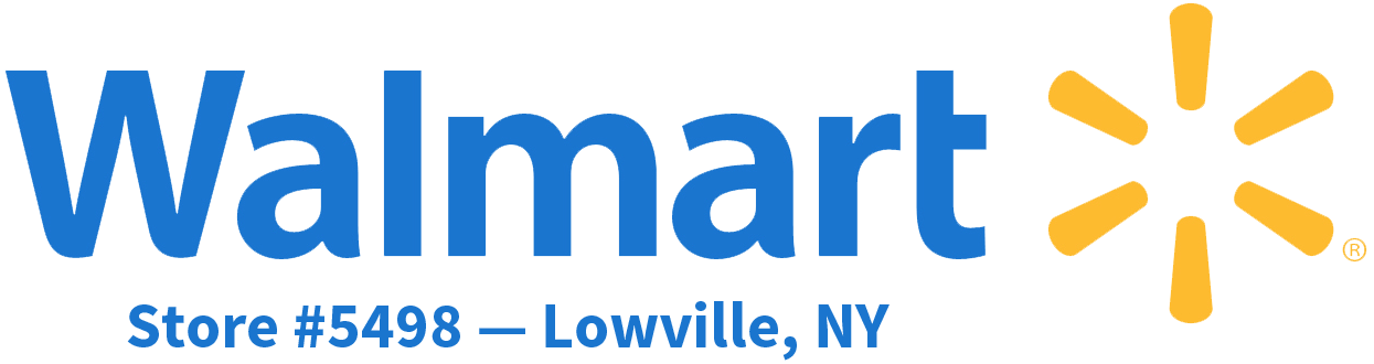 Walmart logo plus Lowville, NY Store information.