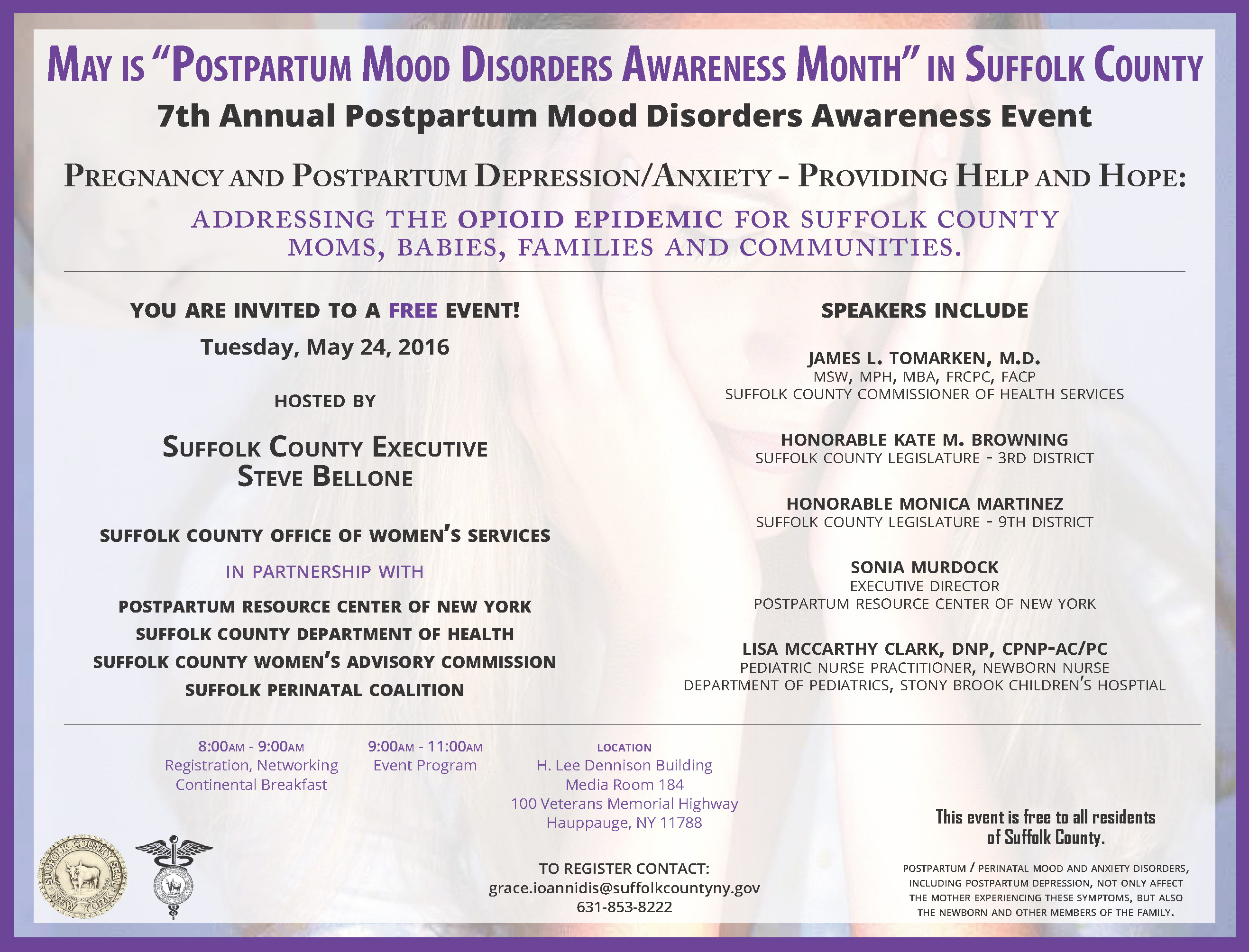 "May is ""Postpartum Mood Disorders Awareness Month"" in Suffolk County. 7th Annual Postpartum Mood Disorders Awareness Event Flyer - May 24, 2016"