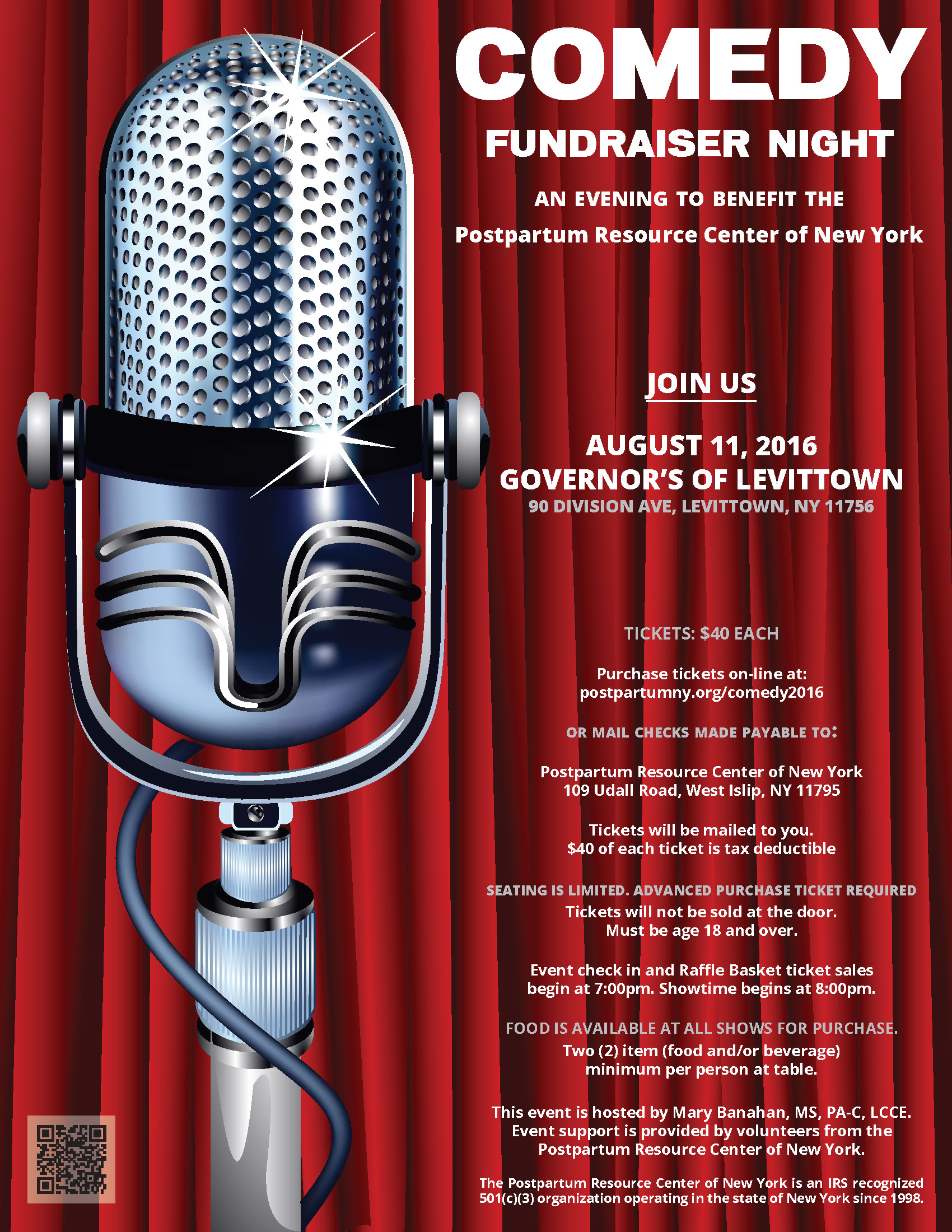 Governor's Comedy Club of Levittown Comedy Fundraiser Night flyer.