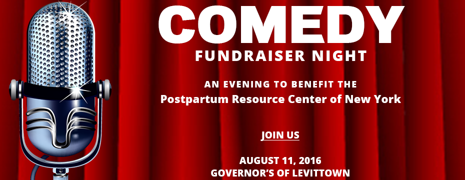 Comedy Fundraiser Night to benefit the Postpartum Resource Center of New York. Event page banner.