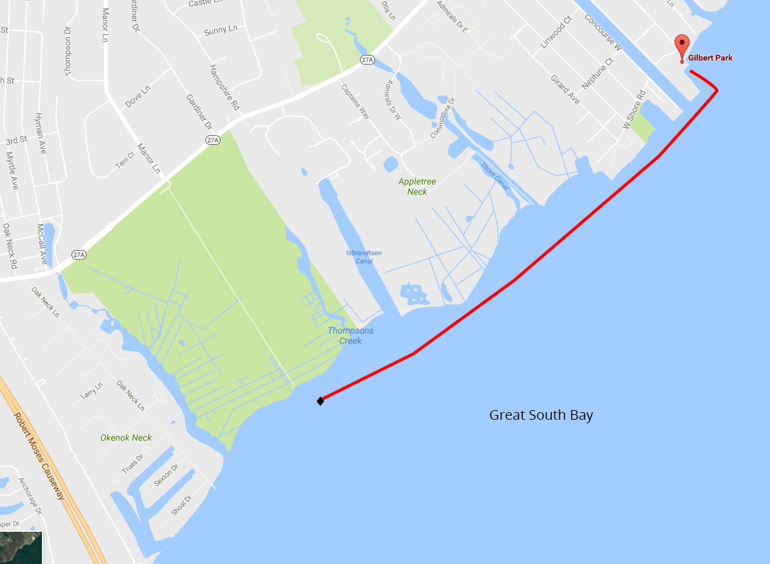 Sounds of Silence Paddle Out 2016 course map on the Great South Bay, Long Island, New York.