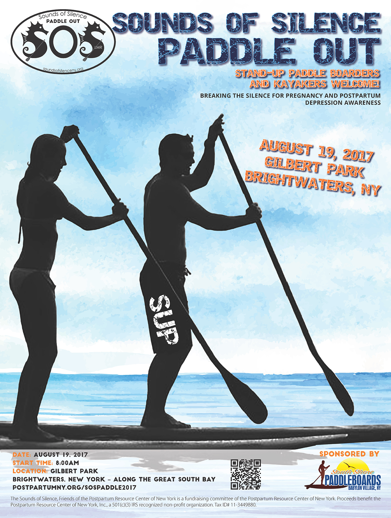 Sounds of Silence Paddle Out Event poster – August, 19 2017.