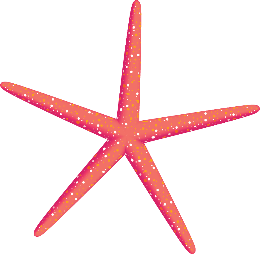 Red, orange starfish with white dots.