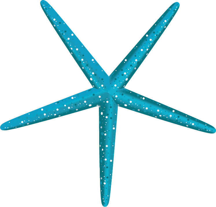 Blue green starfish with yellow dots.