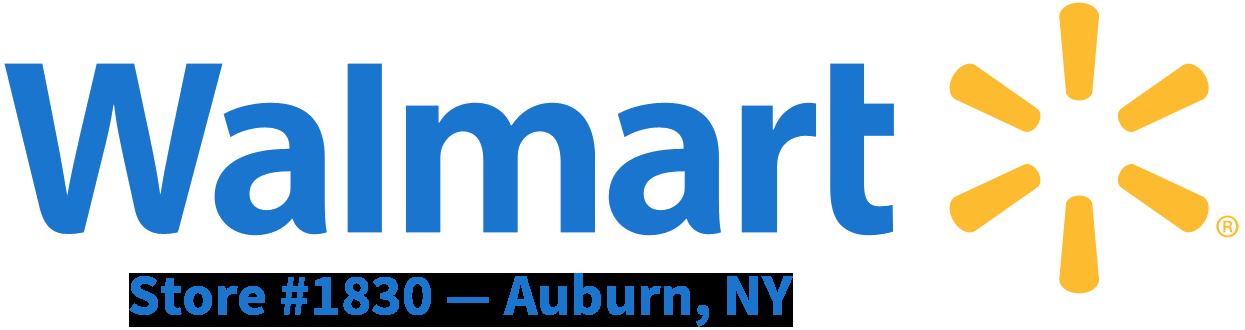 Walmart logo plus Auburn, NY store information.