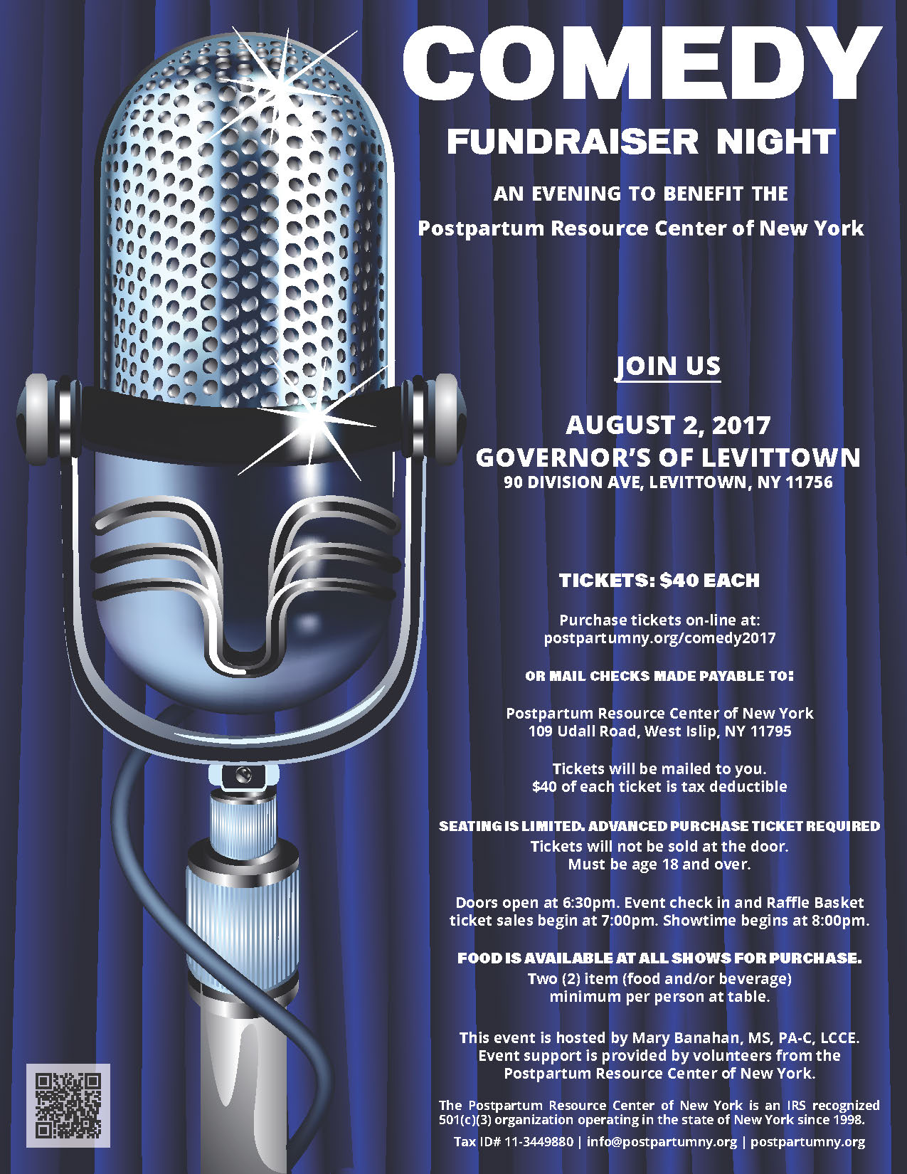 Comedy Fundraiser Night flyer 2017.