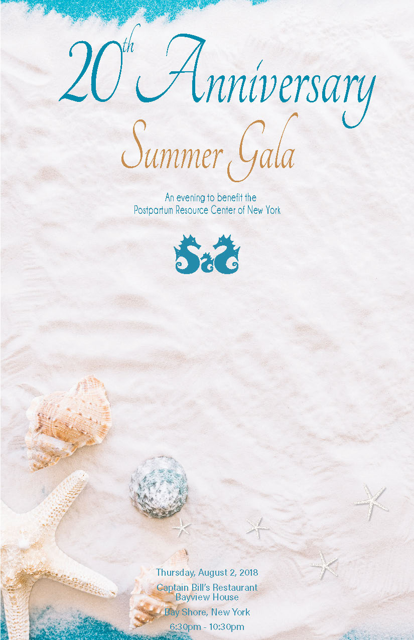 Postpartum Resource Center of New York's 20th Anniversary Summer Gala program cover.