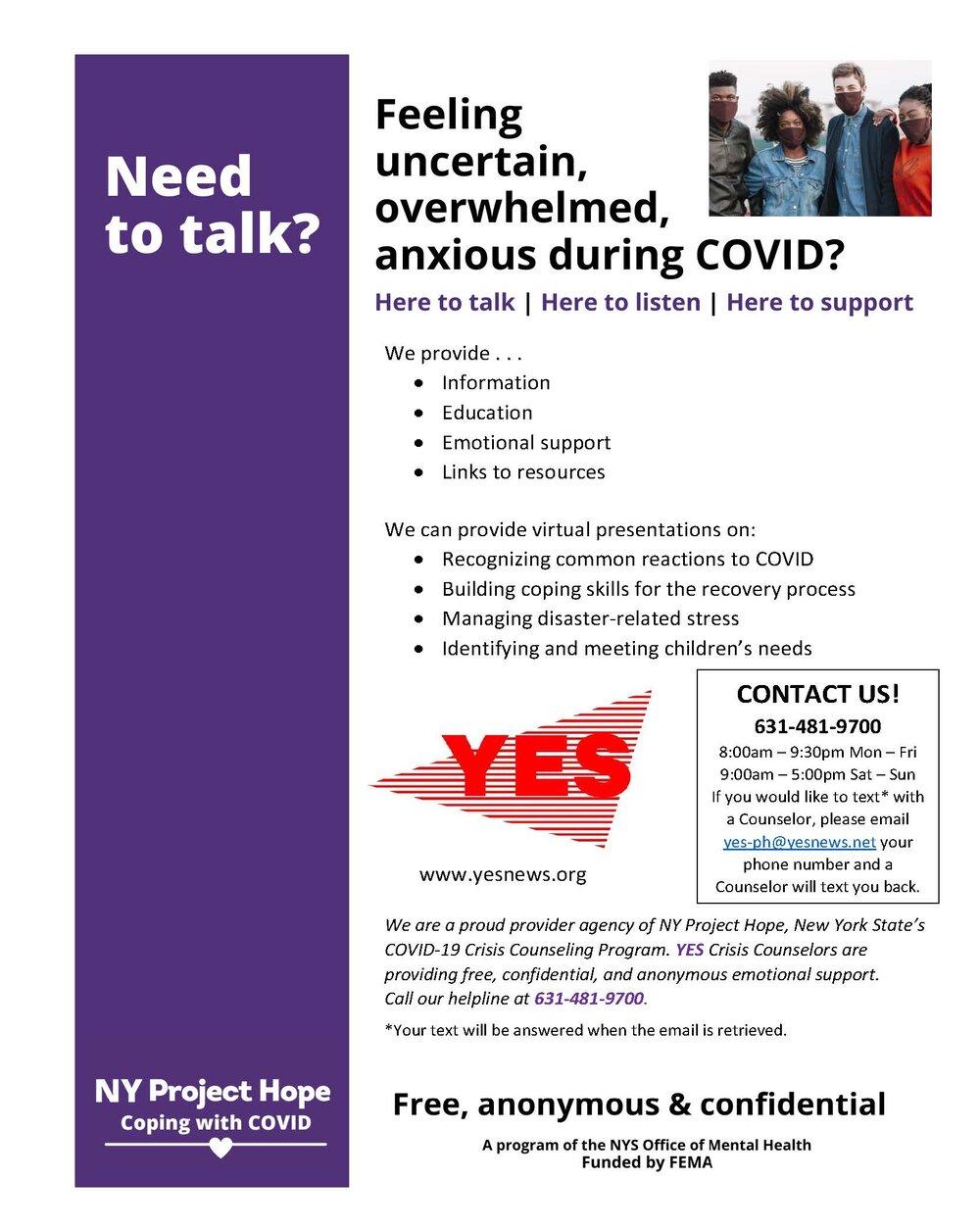 NY Project Hope Flyer (English)