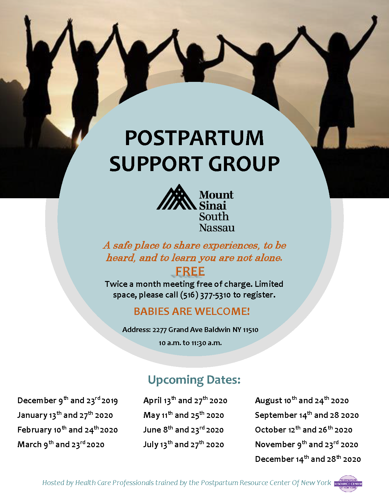 Mount Sinai – South Nassau  Postpartum Support Group Flyer  2019 – 2020