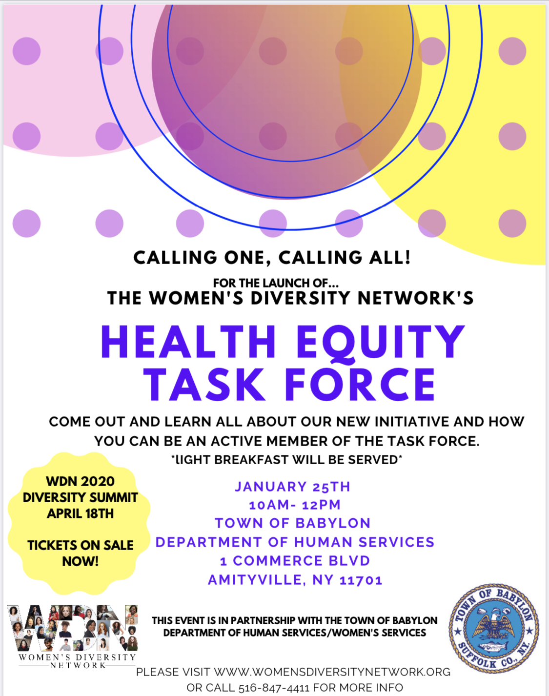Women's Diversity Network's  Health Equity Task Force Flyer