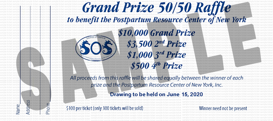 SOS Run 2020 Grand Prize 50-50 Raffle ticket sample image.