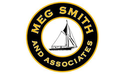 Meg Smith Associates' logo. They are a T-shirt logo sponsor for the 13th Annual Sounds of Silence Run/Walk. Please click on their link to visit them.